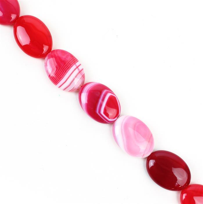 390cts Cerise Stripe Agate Puffy Ovals Approx 18x25 mm, 38cm/strand
