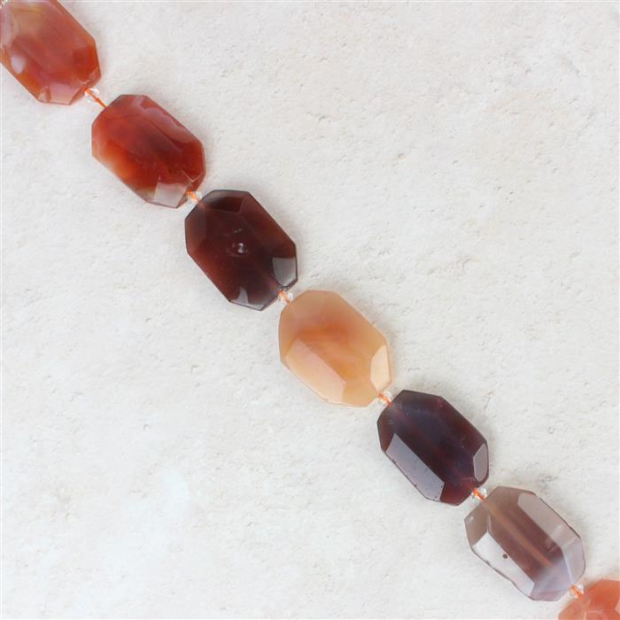 660cts Red Agate Faceted Slabs Approx 22x33-28x39mm, 38cm