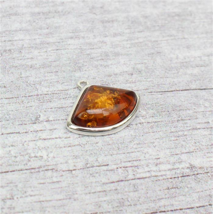 Baltic Cognac Amber Art Deco Cabochon Sterling Silver Pendant Approx 22x18mm