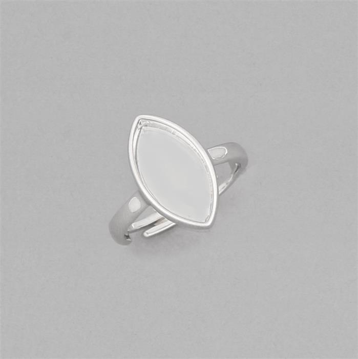 925 Sterling Silver Adjustable Ring With Approx 17x10mm Marquise Bezel
