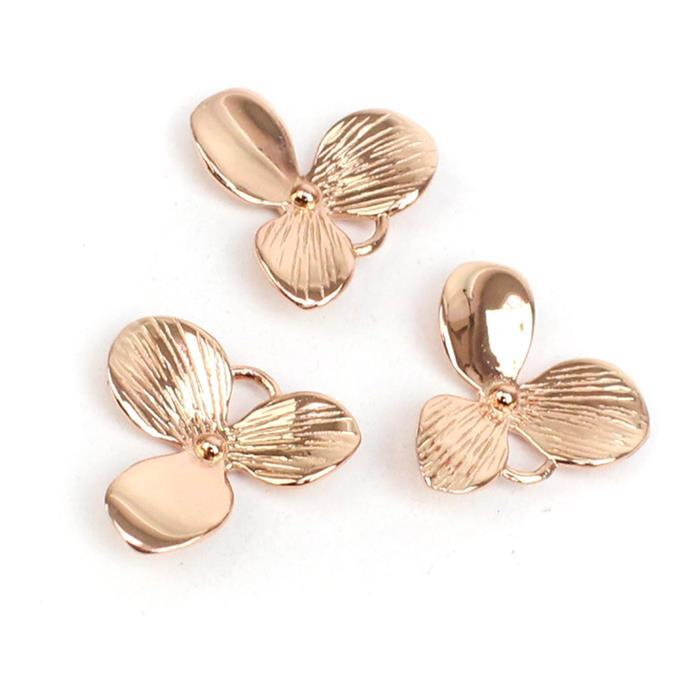 Rose Gold Plated 925 Sterling Silver Oriental Flower Charms 15x14mm 3pk