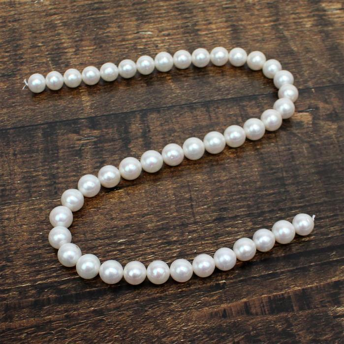 High Lustre White Freshwater Cultured Pearl Near Round Approx 9.5-10.5mm, 38cm Strand