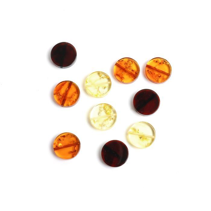 Baltic Multi-Colour Amber Coin Beads Approx 15mm (10pcs)