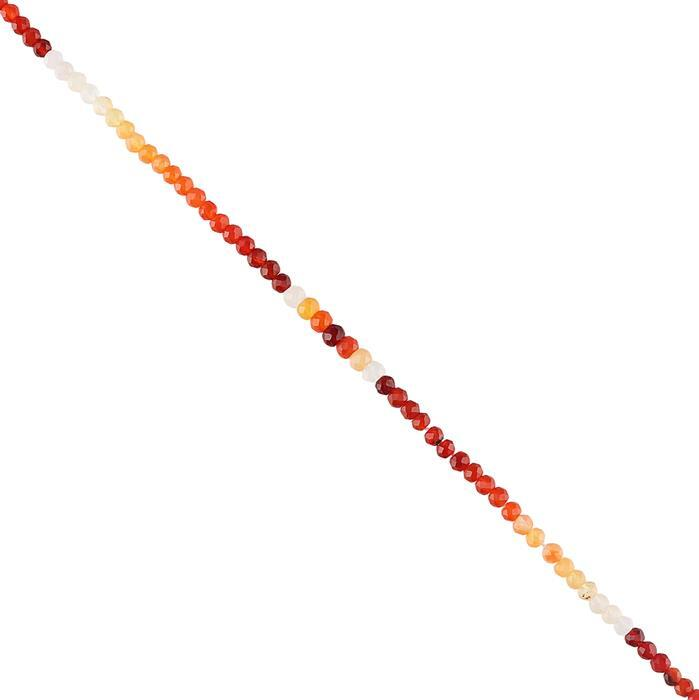 10cts Mexican Fire Opal Micro Faceted Rondelles Approx 2x1 to 3x2mm, 30cm Strand.