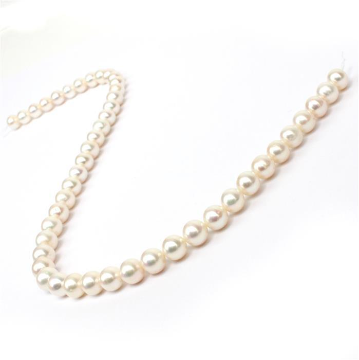 High Lustre White Freshwater Cultured Pearl Near Round Approx 8.5-9.5mm, 38cm Strand
