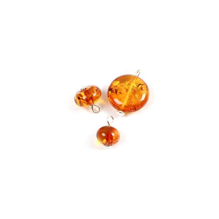 Baltic Cognac Amber Bead Charms 925 Silver Approx 6x7, 6x10 and 15x15mm (3pcs)