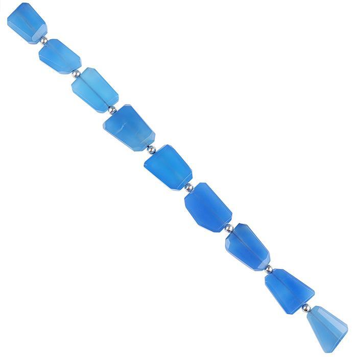 156cts Blue Chalcedony Graduated Faceted Large Nuggets Approx 15x11 to 20x15mm, 18cm Strand.