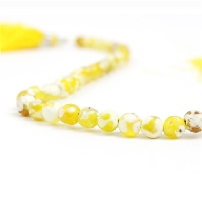 56cts Yellow Banded Agate Faceted Rounds Approx 6mm, 22cm Strand.