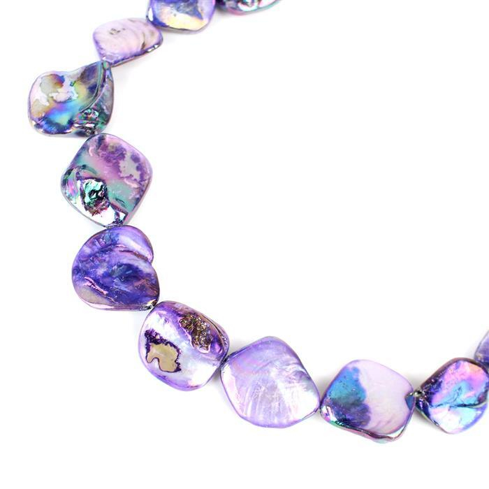 Purple Mother of Pearl Beads Approx 15x15mm to 22x20mm