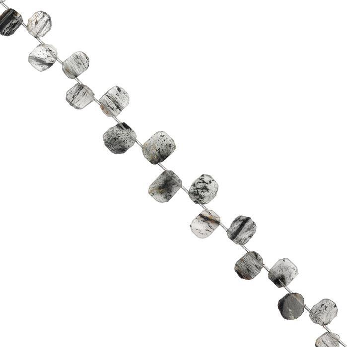 45cts Black Quartz Graduated Top Drilled Plain Slices Approx 9x8 to 11x9mm, 18cm Strand.