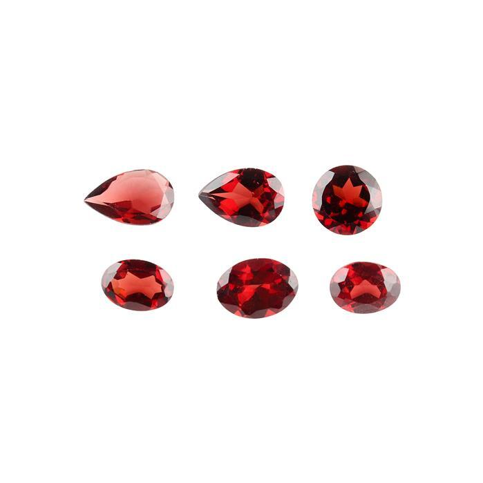 7cts Red Garnet Faceted Multi Shape Assortment.