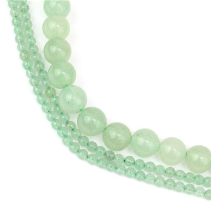 Aventurine Dream! Inc; 91cts Green Aventurine Plain Rounds Approx 6mm & 2mm