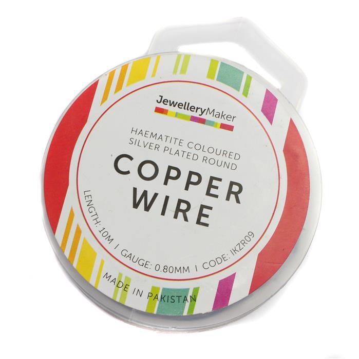 10m Haematite Coloured Silver Plated Copper Wire 0.80mm