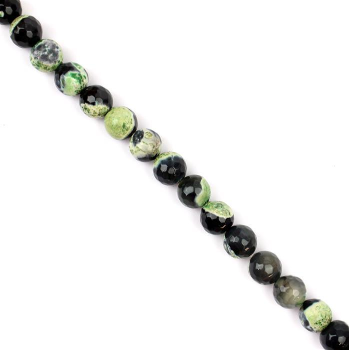 250cts Black & Green Agate Faceted Rounds Approx 10mm, 38cm strand
