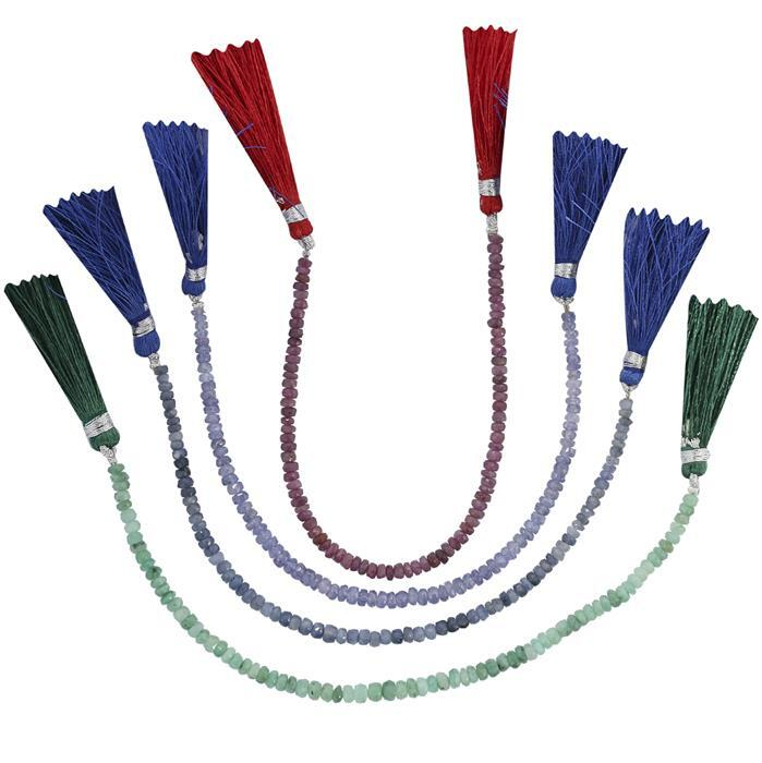 109cts Ruby, Emerald, Tanzanite & Blue Sapphire Graduated Faceted Rondelles Approx 2x1 to 4x2mm, 18cm Each Strand.