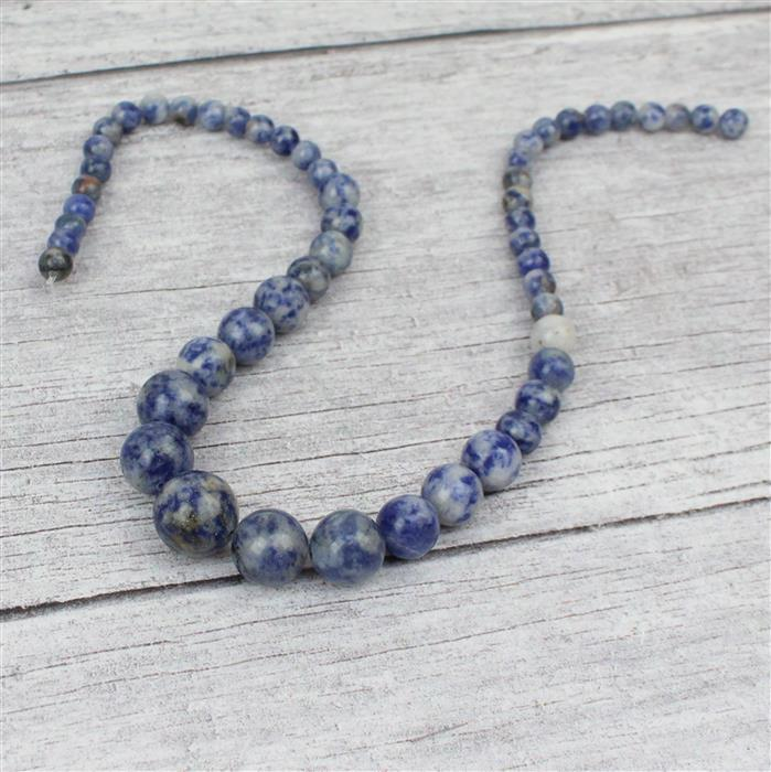 175cts Sodalite Graduated Rounds Approx 6-14mm, 38cm strand
