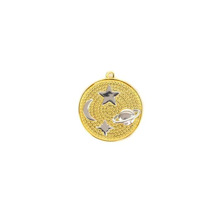 Two Tone Gold Plated 925 Sterling Silver Universe Pendant Approx 18mm, 1pcs
