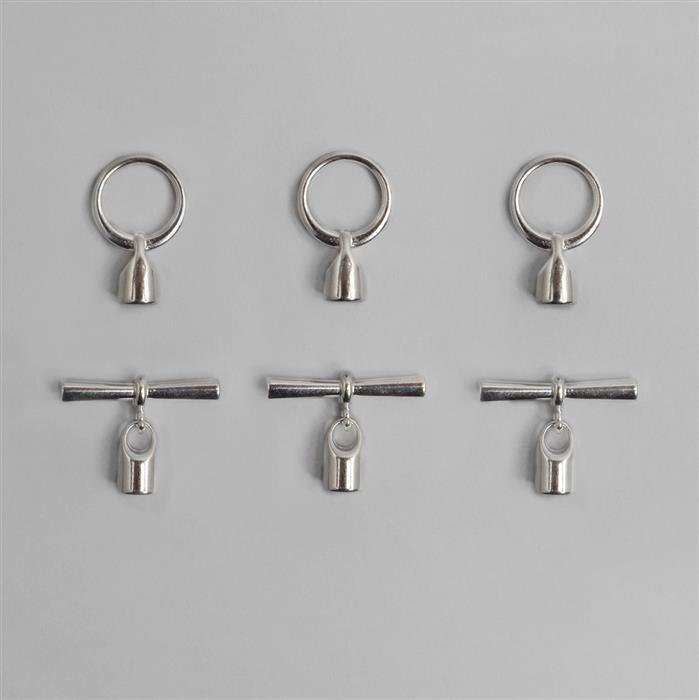 Silver Plated Toggle Clasp with Cord Ends 6.2mm (3pcs)