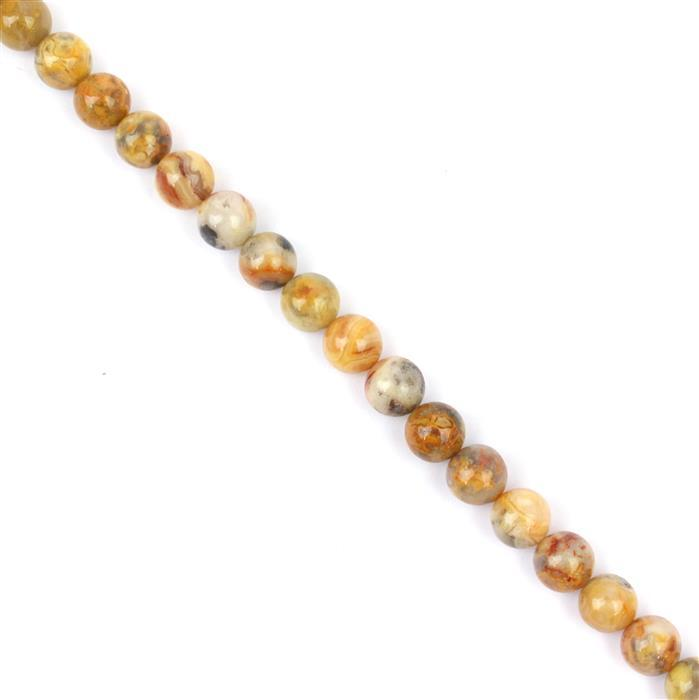 170cts Mixed-colour Crazy Agate Plain Rounds Approx 8mm, Approx m38cm strand