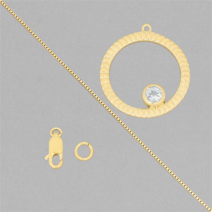 Birthstone Kit: Gold Plated 925 Sterling Silver Birthstone Necklace Kit Inc. 0.60cts Sky Blue Topaz Round Approx 5mm