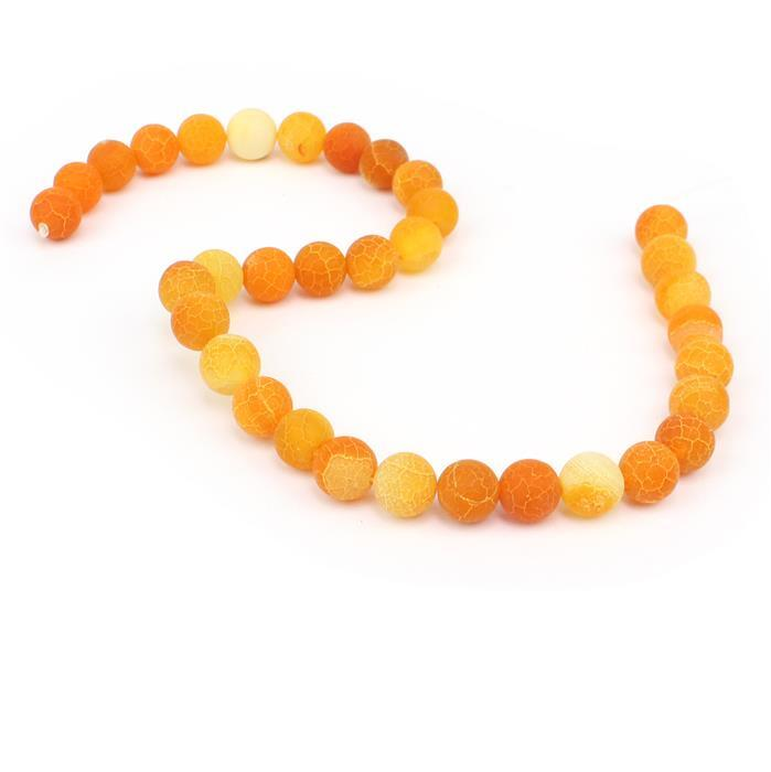 320cts Orange Frosted Crackled Agate Plain Rounds Approx 12mm, 38cm