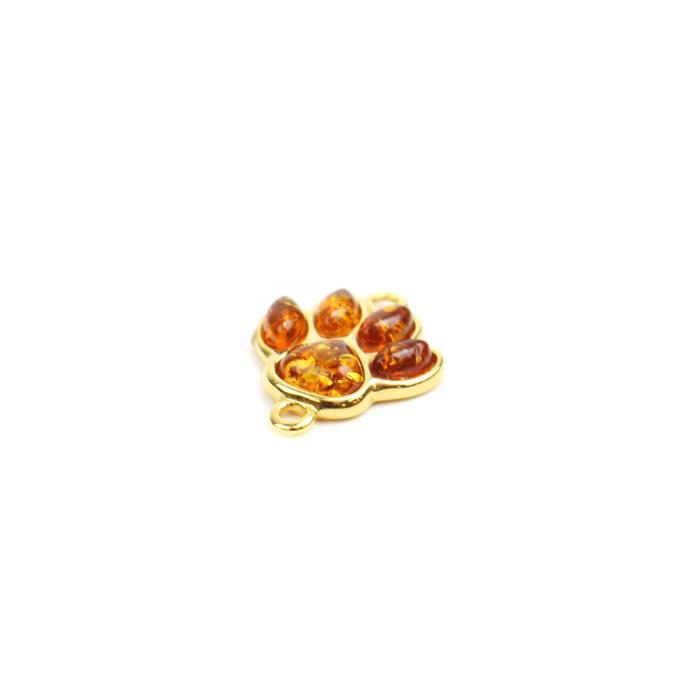 Baltic Cognac Amber Paw Print Connector Gold Plated Sterling Silver, Approx 14x17mm