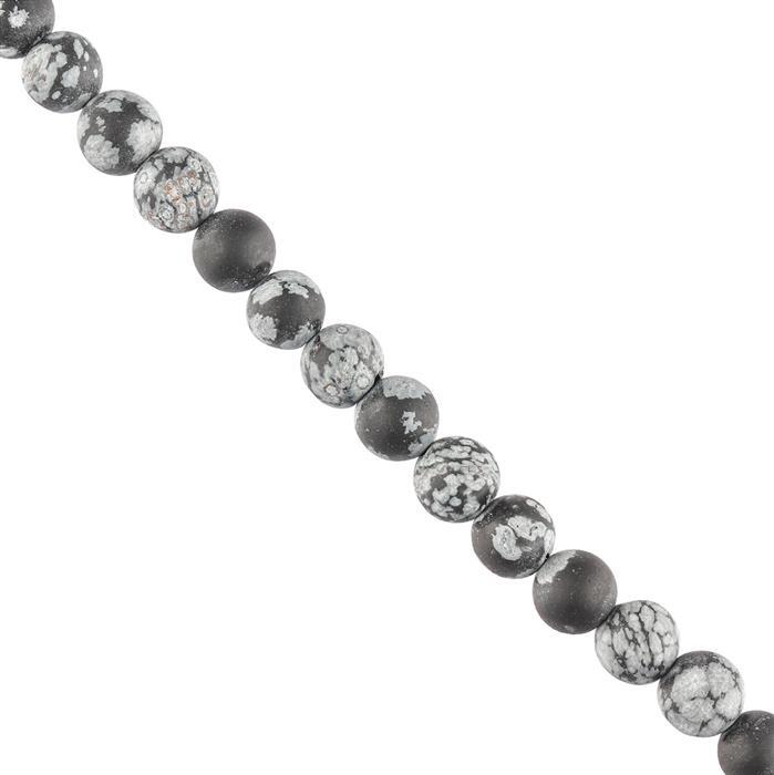 120cts Snowflake Obsidian Plain Matte Finished Rounds Approx 8mm, 28cm Strand.