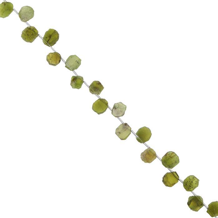 40cts Vesuvianite Graduated Top Drilled Plain Slices Approx 6x5 to 10x8mm, 18cm Strand.