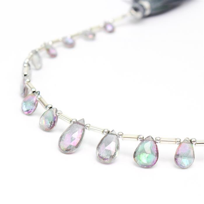 24cts Mystic Topaz Graduated Faceted Pears Approx 6x4 to 8x5mm, 22cm Strand.