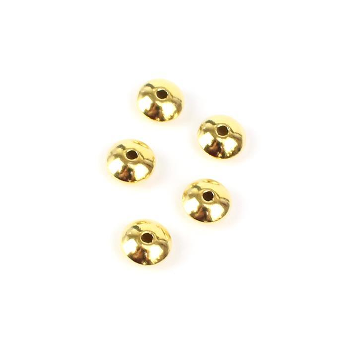 Gold Plated 925 Sterling Silver Saucer Shaped Beads Approx7mm 5pcs