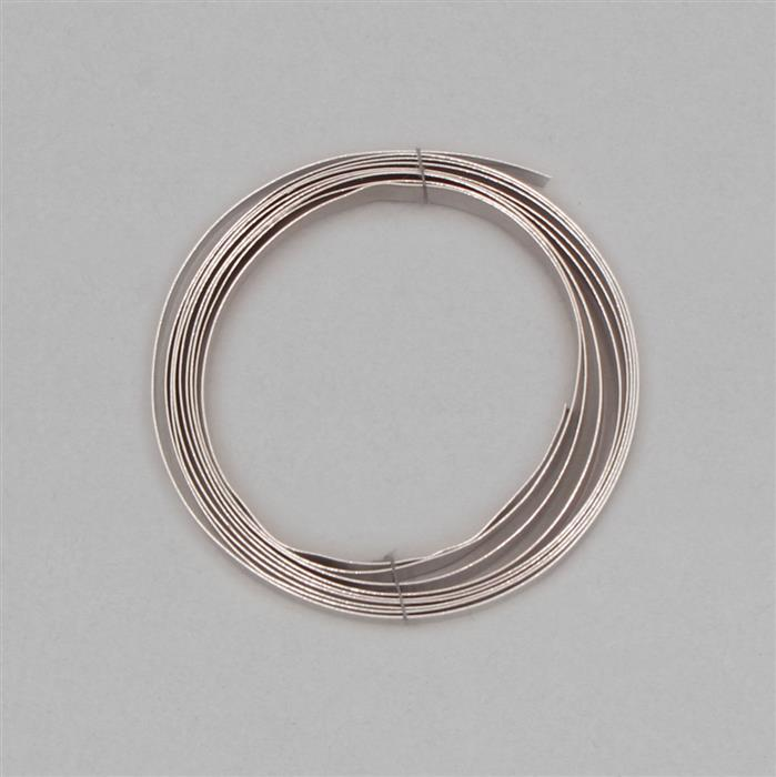1m 925 Sterling Silver Flat Wire With Rhodium Approx 5mm, Gauge Approx 0.3mm