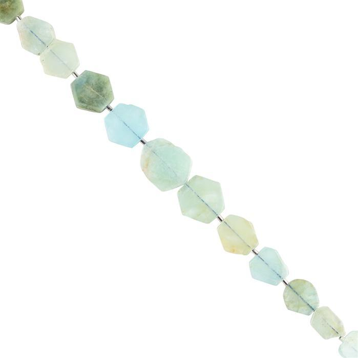 115cts Aquamarine Graduated Plain Slices Approx 10X8 to 19x17mm, 18cm Strand.