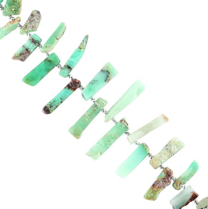 90cts Chrysoprase Graduated Plain Irregular Slices Approx 10x5 to 26x4mm, 16cm Strand.