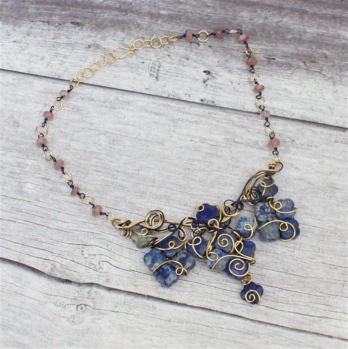 Venus INC Lapis Lazuli Flower strand, Sagenitic Quartz Faceted Rondelles & coloured wires
