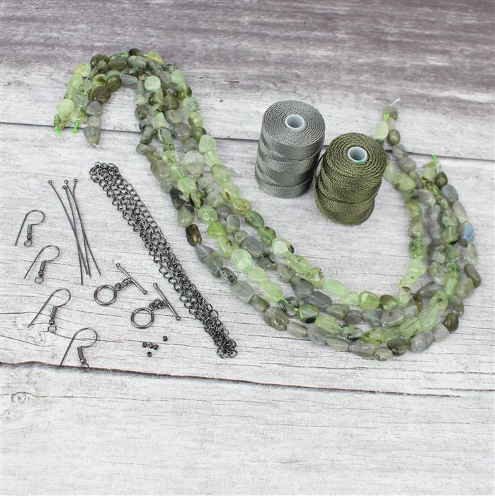 Leaves:2x Prehnite & 2x Labradorite nugget strands with gunmetal & olive cords,findings pk