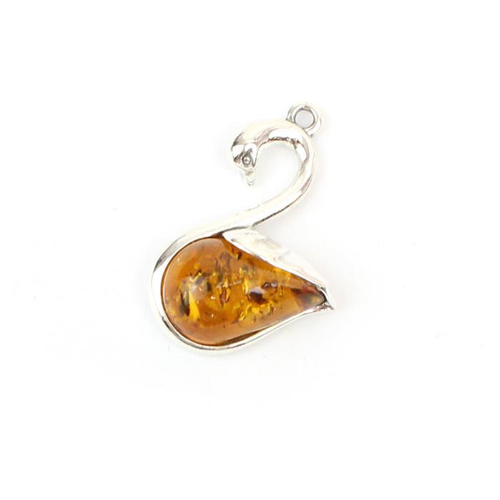 Baltic Cognac Amber Swan Pendant Approx 23x17mm