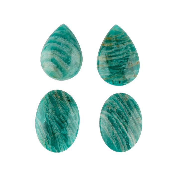 90cts Russian Amazonite Multi Shape Cabochons Assortment. (Pack of 4)