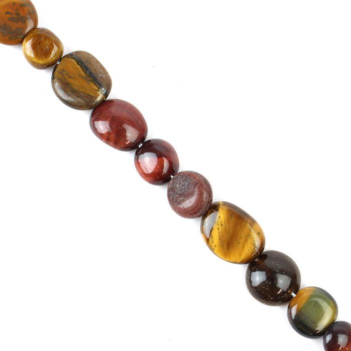 140cts Multi-Colour Tigers Eye Nuggets Approx 6x7 to 16x11mm 38cm
