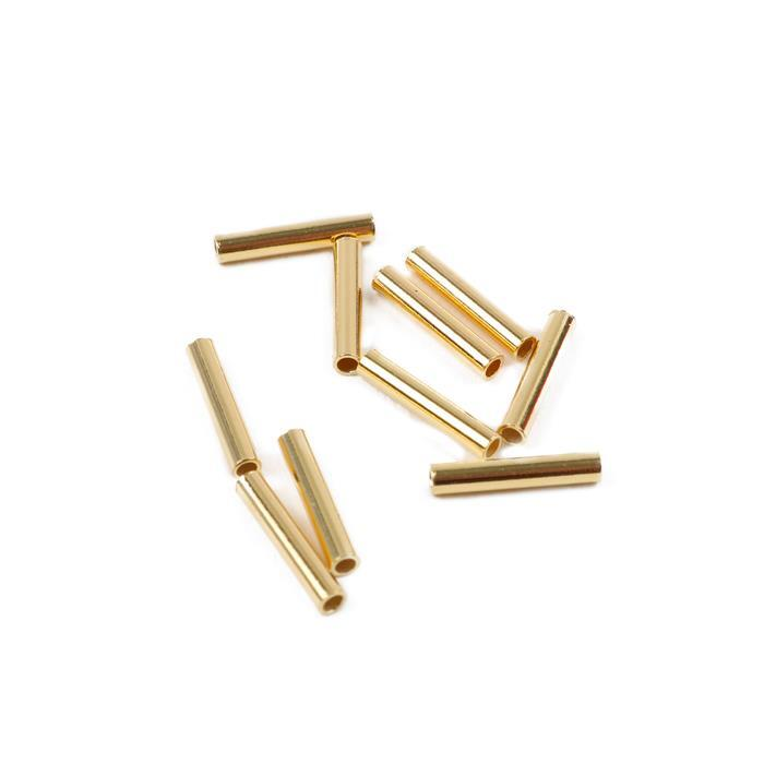 Gold Plated 925 Sterling Silver Tubes Approx 1x10mm 10 Pcs