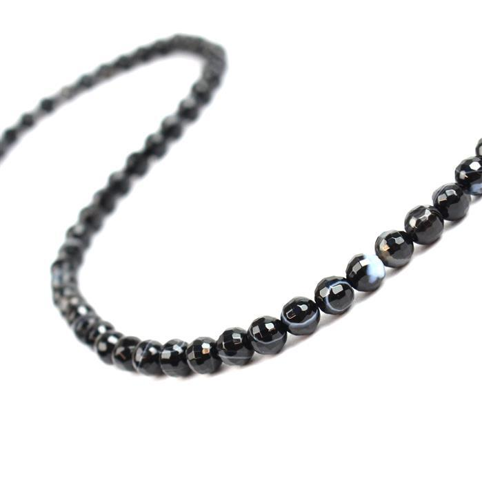 70cts Black Striped Agate Faceted Rounds Approx 6mm, 38cm strand