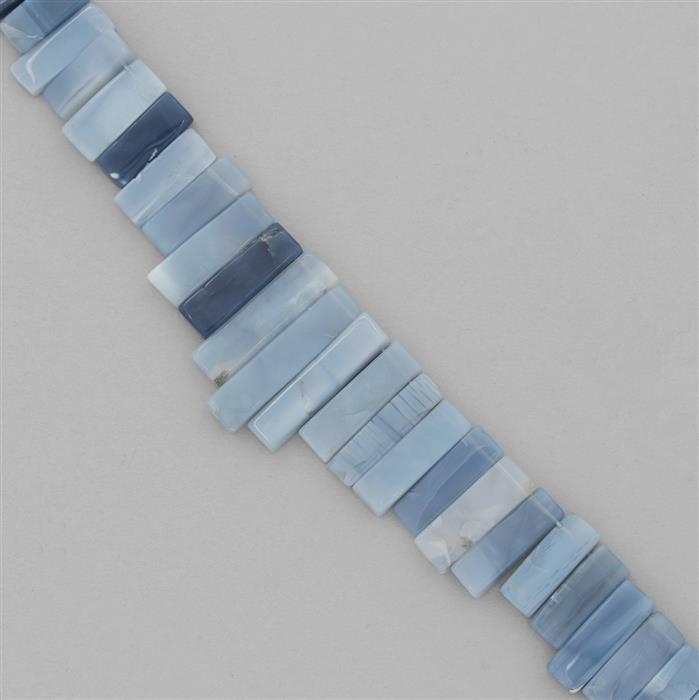 220cts Blue Opal Graduated Plain Bars Approx 13x7 to 32x6mm,18cm Strand.
