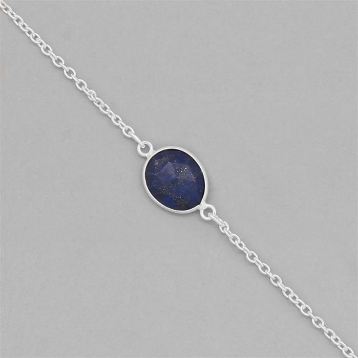 925 Sterling Silver Gemstone Bezel Chain Approx 19x11mm Inc. 20cts Lapis Lazuli Fancy Rose Cut, Length Approx 70cm
