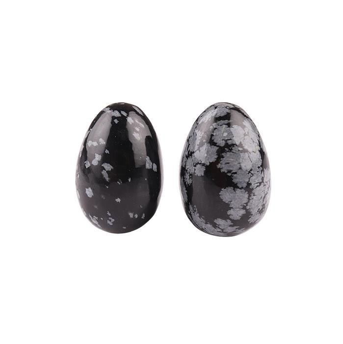 100cts Snowflake Obsidian Plain Egg. (Pack of 2)