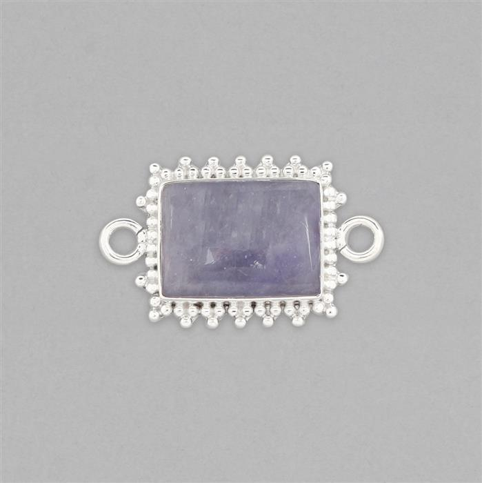 925 Sterling Silver Gemset Connector Approx 32x19mm Inc. 12cts Tanzanite Cushion Cabochon Approx 18x13mm