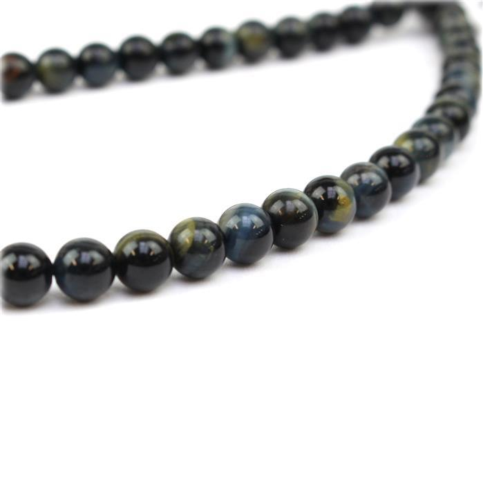 100cts Blue  Tigers Eye Plain Rounds Approx 6mm 38cm strand