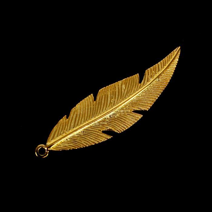 Gold Plated 925 Sterling Silver Fine Detail Feather Pendant Approx 35x10mm, 1pc