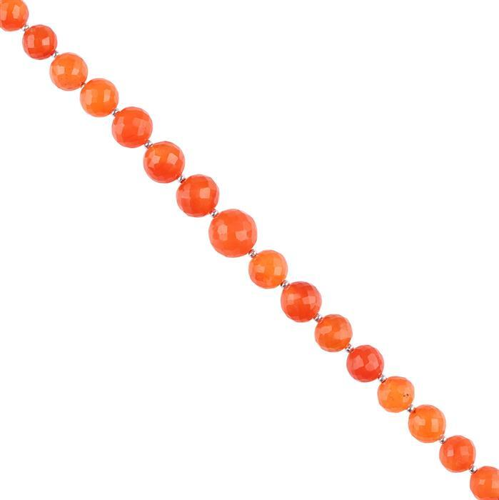 65cts Carnelian Graduated Faceted Rounds Approx 6 to 9mm, 14cm Strand.