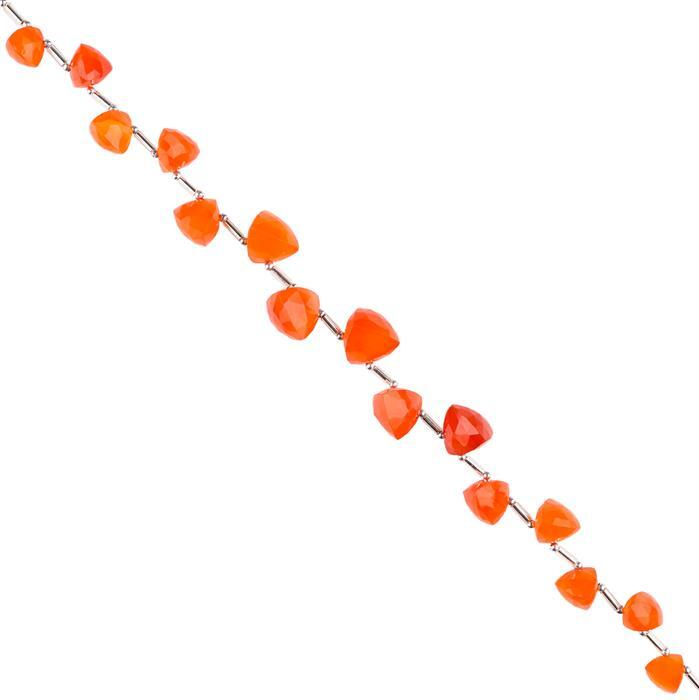 68cts Carnelian Graduated Faceted Trilliant Approx 7 to 10mm, 18cm Strand.
