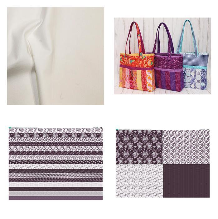 Copen Plumb Sophie Tote Bag: Pattern, Fabric Panel, FQ Panel & Fabric (0.5m)