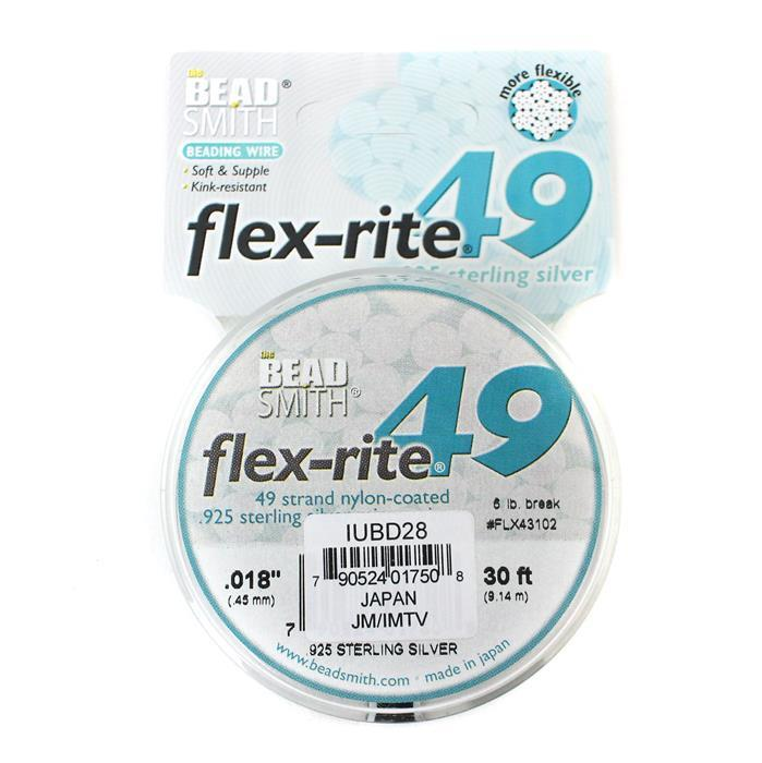 Flex-rite 49 Strand Sterling Silver Wire Approx 0.45mm/0.018